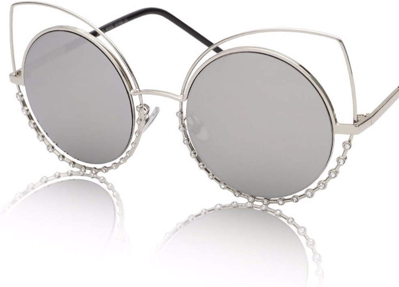 Cat's Eye Sunglasses Female Metal Round Frame Sunglasses Retro Round Face Glasses,A
