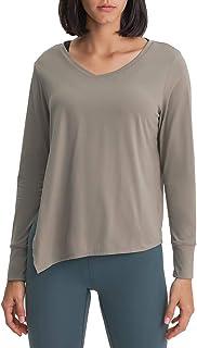 Womens Long Sleeve Workout Shirts Tie Sideward Quick Dry Yoga Tee Shirt Loose Casual Tops