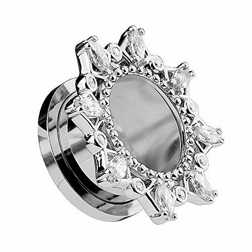 Piercingfaktor Flesh Tunnel Ohr Piercing Plug Ohrpiercing Vintage Tribal Motiv mit vielen Kristallen am Rand Silber 6mm