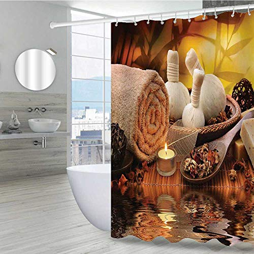 Interestlee Spa Decor Shower Curtains in Bath 36' W x 72' L, Outdoor Spa Massage Setting at Sunset with Candlelight Reflections Culture Rust-Resistant Grommet Holes Bath Curtain,