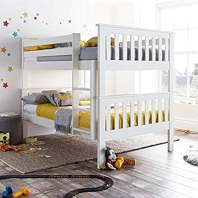 Happy Beds Oslo Quadruple Sleeper Bunk Bed White Wooden Kids Bedroom Furniture
