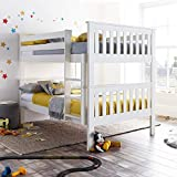 Quadruple Sleeper Bed, Happy Beds Oslo White Wood Shaker Double Bunk Bed - 4ft Small Double (120 x 190 cm) Frame Only