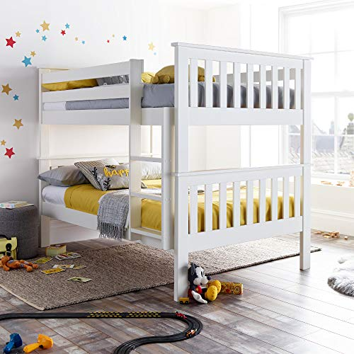 Oslo White Wooden Double Bunk Bed - Happy Beds