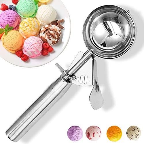 Ice Cream Scoop with Trigger, Cookie Scoop, Large Size Ice Cream Scooper Stainless Steel Ice Cream Scooper for Kids, Melon Baller Cookies Scoop - 5.25 Tbsp