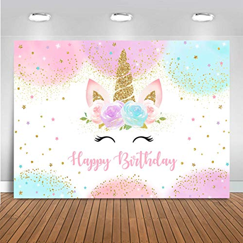 Mocsicka Rainbow Unicorn Backdrop Happy Birthday Party Decorations for Girls Watercolor Floral Glitter Stars Dots UnicornCake Table Banner Supplies Studio Props (5x3ft)