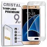 REY Protector de Pantalla Curvo para Samsung Galaxy S7 Edge, Plata, Cristal Vidrio Templado Premium, 3D / 4D / 5D