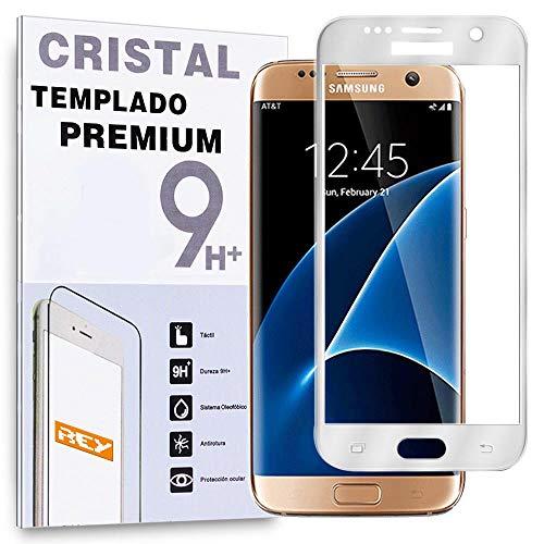 REY Protector de Pantalla Curvo para Samsung Galaxy S7 Edge, Plata, Cristal...