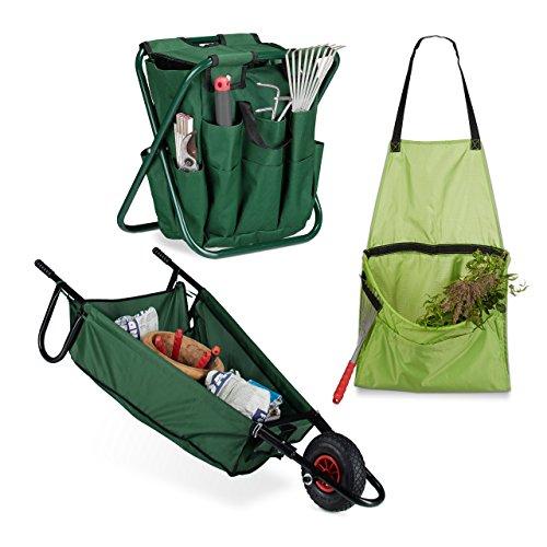 Relaxdays 3 teiliges Gartenarbeits-Set, Schubkarre faltbar 90 L, Gartenwerkzeug Hocker klappbar, Gartenschürze für Unkraut