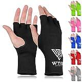 WYOX Boxing Hand Wraps MMA Gloves Men Women Punching Mitts Boxing Wraps Boxing Gear Kickboxing Wraps Compression (L/XL (22-26cm), Black)