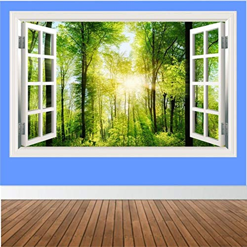 Forest With Rays Of Sun Light 3d Windowview Effect Art Mural Wall Sticker Decor