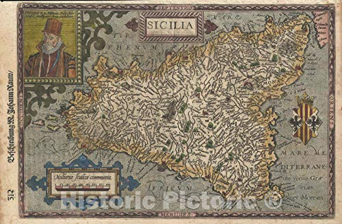 Historic Map : Sicily, Italy, Quad, 1600, Vintage Wall Décor : 36in x 24in