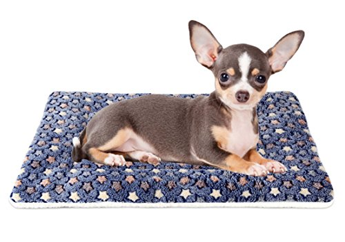 Mora Pets Ultra Soft Pet (Dog/Cat) Bed Mat with Cute Prints | Reversible Fleece Dog Crate Kennel Pad | Machine Washable Pet Bed Liner (22-Inch, Dark Blue)