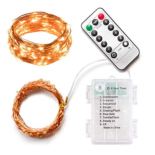 Led String Lights - Battery Powered 100 LEDs String Lights,8 Modes Timer Waterproof,Remote Control with 2 Meter Copper Wire Lights for Home, Kitchen,Party,Festival,Bedroom(Multi Color)