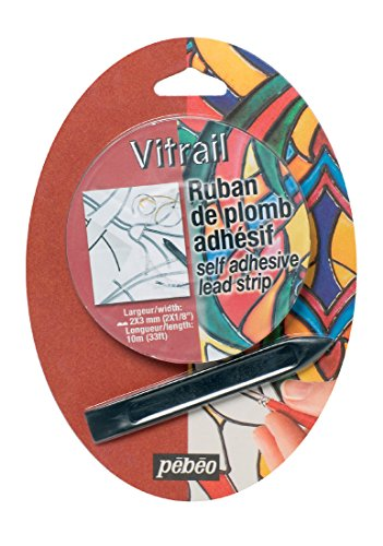 Pebeo 843001 Vitrail Self-Adhesive Lead Strip, 33 ft (10 m), Grey