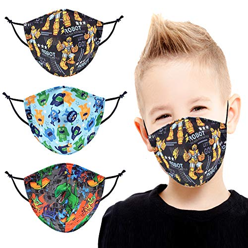 Cloth Fabric Kid's Face Mask – 3 Pack 3D Nose Wire Filter Pocket 4 Layers Cool Cotton Reusable Washable Breathable Cute Print Protection Covering Toddler Baby Made in USA CK01,CK06,CK08