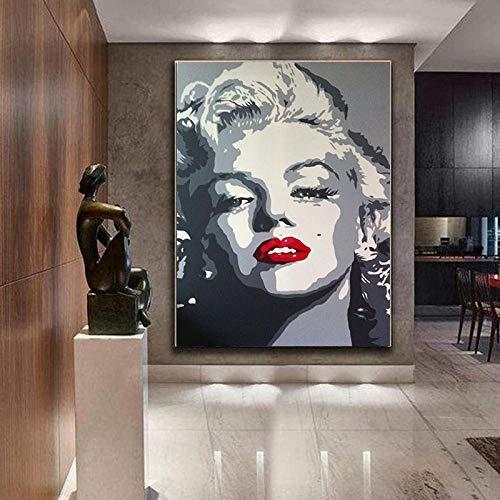 ZJJXM Poster Tele Foto Stampe Artistiche Quadro su Tela Dipinto su Tela Salone di Decorazione Artistica Poster della Star del Cinema Marilyn Monroe Poster E Stampe L'Immagine Senza Cornice 50X70Cm