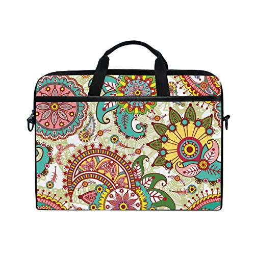 EZIOLY Paisley And Flowers Laptop Shoulder Messenger Bag Case Sleeve for 13 Inch to 14 inch Laptop