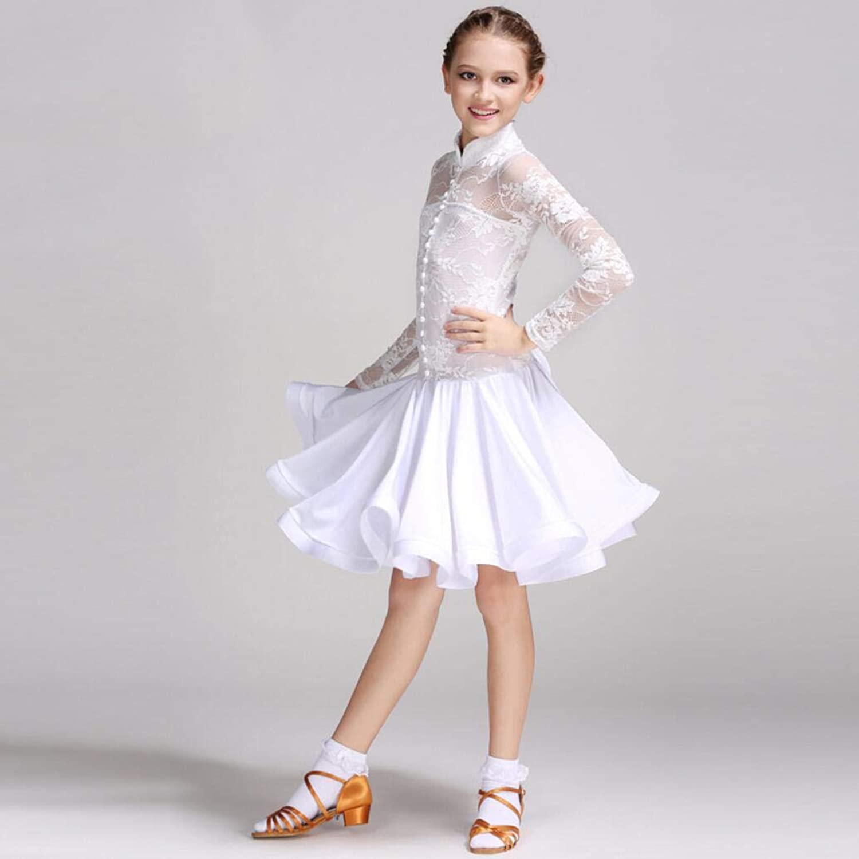 Z&X Dance Set Modern Ballroom Dance Dress Girl ' S Set Long Sleeve Competition Latin Dance Dress Lace Spandex Mesh S-XXXL Weiß