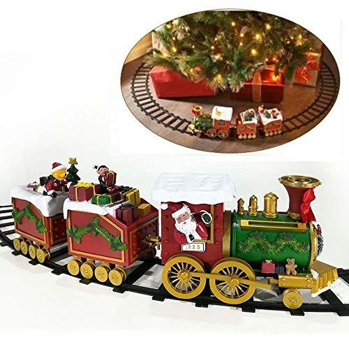 Christmas Presents Trenino Elettrico Natalizio con Doni di Babbo Natale Treno Locomotiva a Batteria con 2 vagoni Luci e Suoni per Decorazione Natalizia Base Albero Pista 137 cm