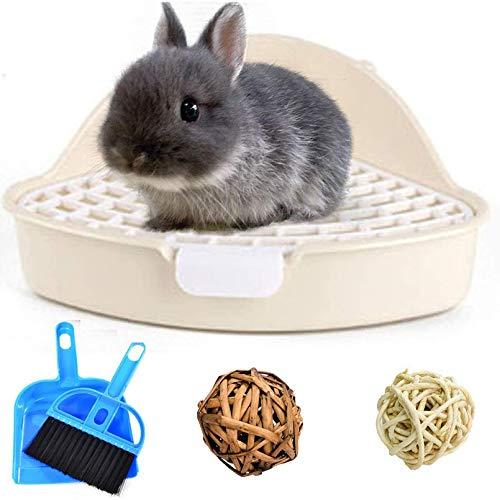 Kleintiertoilette für Hamster, Ecktöpfchentraining mit Kaubällen für Meerschweinchen, Frettchen