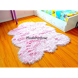 SC Love Collections Nursery Pink White Chubby Sheepskin Mongolian Frost Fur Nonslip Suede Backing Faux Fur Throw Rugs (5′ x 7′ feet)