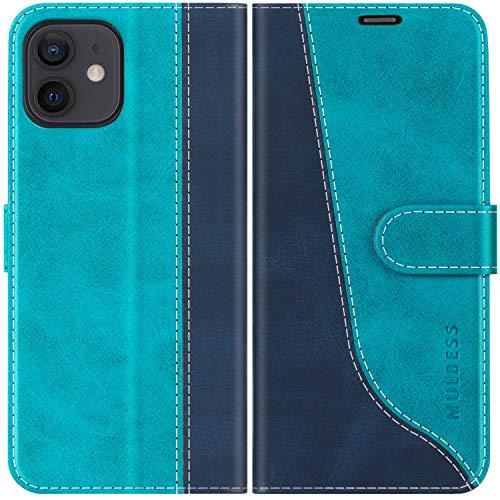 Mulbess Handyhülle für iPhone 12 Pro Hülle, iPhone 12 Hülle, Handy iPhone 12 Pro Hülle, Leder Flip Etui Handytasche Schutzhülle für iPhone 12 Pro/iPhone 12 5G (6,1 Zoll) Case, Mint Blau