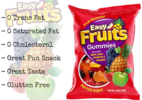 Gummy Fruits 3D Easy Fruits (24 Pack) Soft Chewy Gummies Like Gummy Bears I 4 Flavors & Shapes Grape Apple Pineapple…