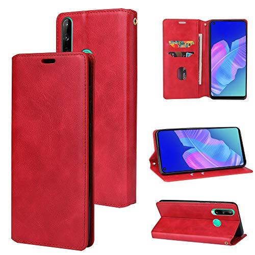 LODROC Huawei P40 Lite E / Y7p Hülle, TPU Lederhülle Magnetische Schutzhülle [Kartenfach] [Standfunktion], Stoßfeste Tasche Kompatibel für Huawei Y7p / Honor 9C - LOYKB0200397 Rot