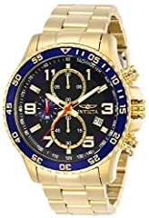 Gold ion-plated watch with textured center dial featuring unidirectional bezel and tachymeter scale on dial border 45 mm gold ion-plated stainless steel case with mineral dial window Japanese quartz movement with analog display Features chronograph f...