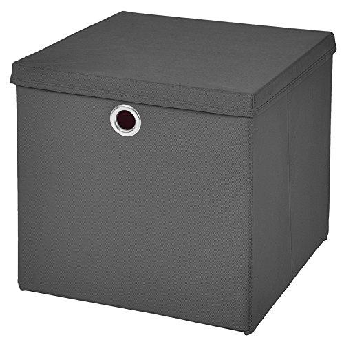 1 Stück Faltbox Dunkelgrau 28 x 28 x 28 cm Aufbewahrungsbox faltbar mit Deckel