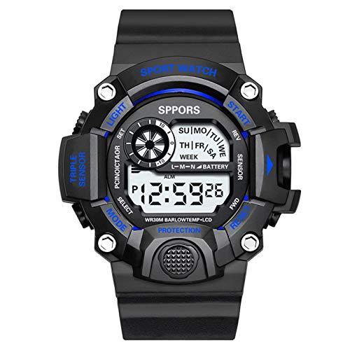 Hffan Digitale Sportuhr für Herren, wasserdicht, Militär-Stil, mit LED-Hintergrundbeleuchtung,Herren Sport Uhren Militär Outdoor Große Armbanduhr Digital Analog