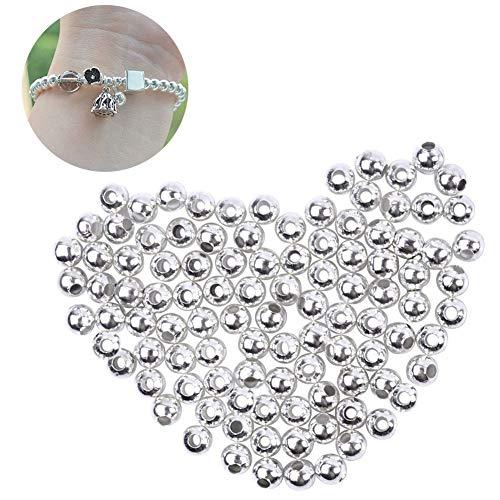 XKJFZ 100 Piezas de 3 mm de aleación de Plata de los Granos del Espaciador de Metal hallazgos de Bricolaje para la fabricación de la joyería de Plata