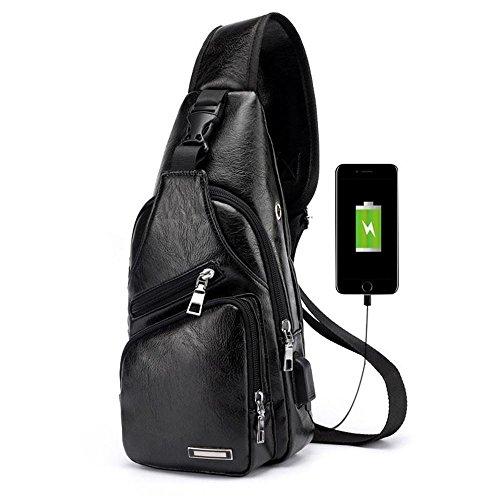 Pawaca, borsa a tracolla da uomo, marsupio in similpelle, ideale per uso all'aperto, con porta USB, zainetto da uomo per viaggi, affari e passeggiate Nero