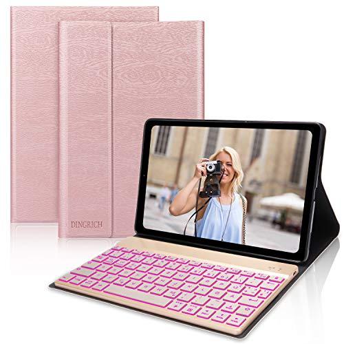 D DINGRICH Tastatur Hülle für Samsung Galaxy Tab A 10.1 2019, Schützhülle mit Hinterleuchtet Abnehmbare Tastatur [QWERTZ]- Magnetisch Schlaf/Wach, für Samsung Galaxy Tab A 10,1 T515/T510, Rose Gold