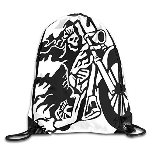 uykjuykj Sac à Cordon de Serrage Motif Squelette flammé pour équitation, Gym, randonnée, Voyage Couleur Chaude 02 Léger Unique 43 x 35 cm