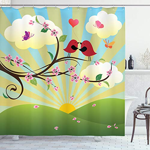 """Ambesonne Flower Landscapes Shower Curtain, Romantic Birds Humming on a Tree Branch with Flowers Print, Cloth Fabric Bathroom Decor Set with Hooks, 70"""" Long, Fern Green and Multicolor"""