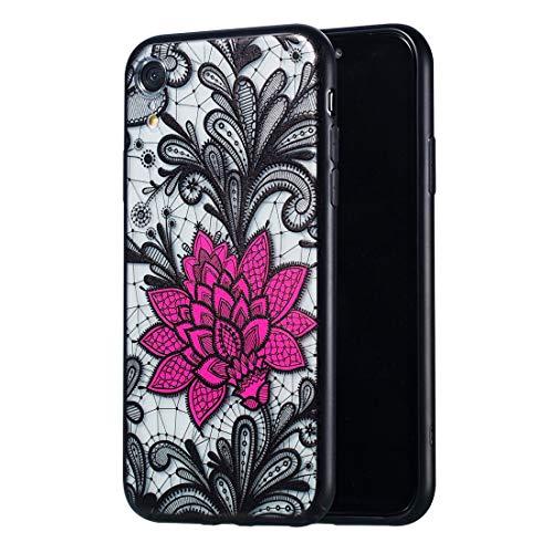 CHANYO Caso para el iPhone Teléfono XR Patrón Caja del teléfono móvil de Big Lotus Caso Relieve Lace + PC for el iPhone XR