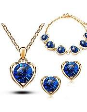 طقم إكسسوار نسائي مطلي ذهب عيار18 أنيق شكل قلب , كريستال نمساوي - اللون أزرق