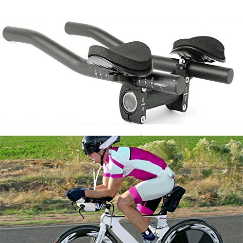 Youen Aero Bars for Road Bike, Aluminum Bike Handlebars for Bicycle Clip-on Bar with Elbow Pads, Bicycle Handlebar Time Trial Cycling TT Bar Triathlon Aero Bar for Mountain Bike (Black)