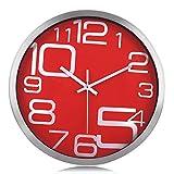 Lafocuse Reloj de Pared Silencioso Metal Moderno Reloj Cuarzo con Grandes Números Rojo para Salon Comedor Dormitorio 30 cm