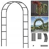 EXLECO Arco para rosales de 240 x 140 x 38 cm, marco de metal de acero, pabellón, pérgola, jardín, para plantas trepadoras, resistente a la intemperie, decoración de jardín, color negro