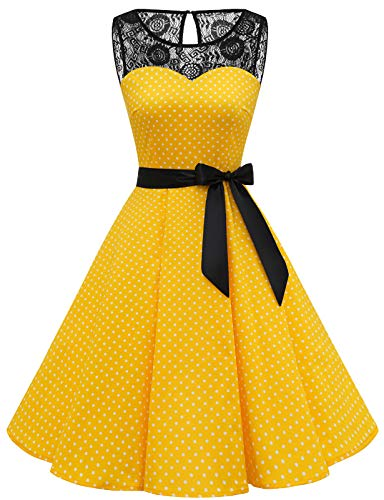Bbonlinedress Vintage Kleid cocktailkleid Abendkleid Rockabilly Kleider Damen Petticoat Kleid cocktailkleid Damen hochzeitskleid Kleider Damen Abendkleider lang Yellow White Dot M