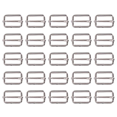 25 1 Parts Inch Side Buckle Triglide Ribbon Slip for Fastening Strap and Backpack, Silver