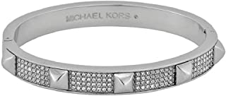 Michael Kors MKJ3823 Silver Tone Pave Embellished Studded Bangle Bracelet
