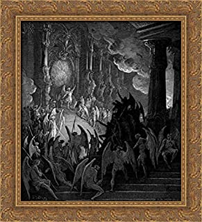 Satan in Council 20x22 Gold Ornate Wood Framed Canvas Art by Gustave Dore