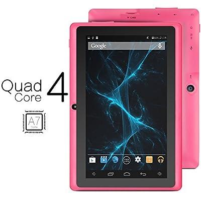 ProntoTec Axius Series Q9 7 Inch Quad Core Android 4.4 KitKat Tablet PC, 800 x 480 Pixels Cortex A8 Processor, 4GB ROM, Dual Camera, G-Sensor, Google Play Pre-loaded -Pink (2015 New Model)