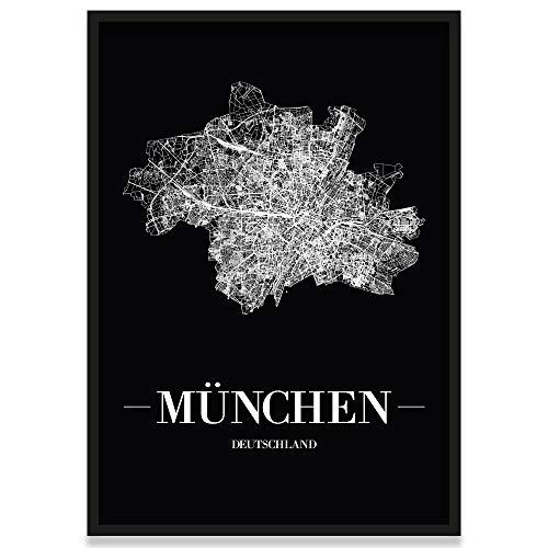 JUNIWORDS Stadtposter, München, Wähle eine Größe, 30 x 40 cm, Poster mit Rahmen, Schrift A, Schwarz