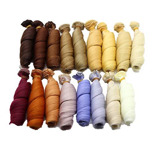Fully 3stk. Puppen-Perücke Haarteil Haarperücke 15 X 100CM/5.9 X 39 Kostüm für Puppen DIY (Kopfumfang 17-22cm/6.69-8.66