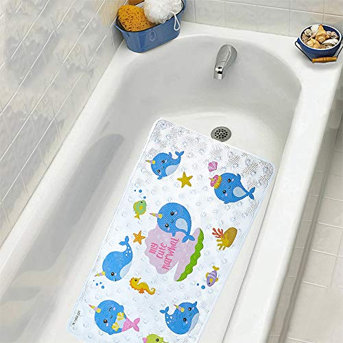 WARRHDirect Bathtub Mat Baby Non Slip Toddler Shower Bath Tub Mat Kids,Anti Slip Bathroom Floor Mat for Shower Safety,27.5 X15.7Inch, Whale FHD-04