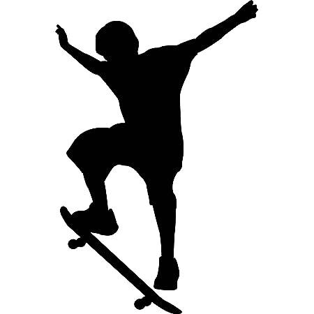 Jumping Skate Boarder Silhouette Sports Wall Sticker Decal Kids Boys Vinyl UK